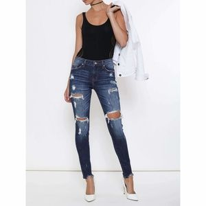 Kan-Can Medium Washed Distressed Jeans